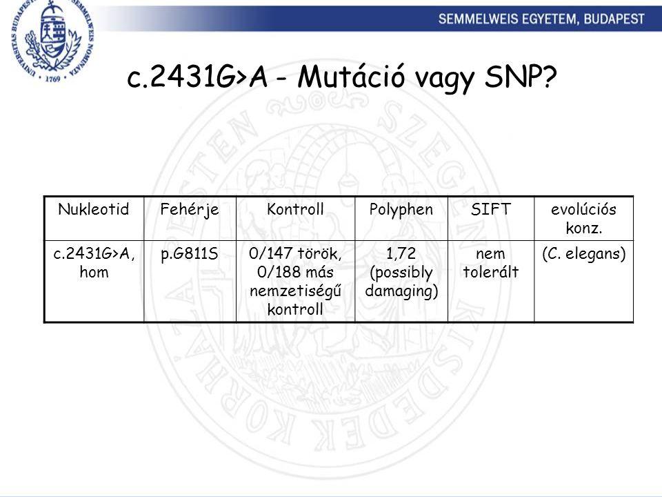 c.2431G>A - Mutáció vagy SNP? NukleotidFehérjeKontrollPolyphenSIFTevolúciós konz. c.2431G>A, hom p.G811S0/147 török, 0/188 más nemzetiségű kontroll 1,