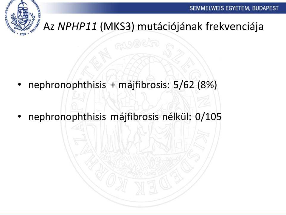 Az NPHP11 (MKS3) mutációjának frekvenciája nephronophthisis + májfibrosis: 5/62 (8%) nephronophthisis májfibrosis nélkül: 0/105