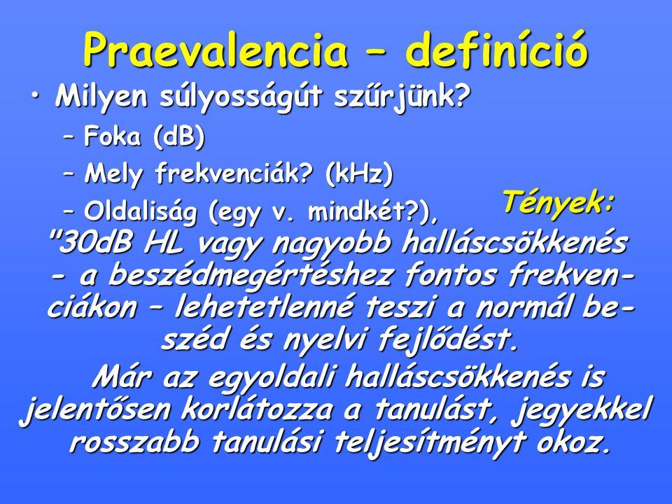 Praevalencia – definíció Milyen súlyosságút szűrjünk?Milyen súlyosságút szűrjünk? –Foka (dB) –Mely frekvenciák? (kHz) –Oldaliság (egy v. mindkét?), Té