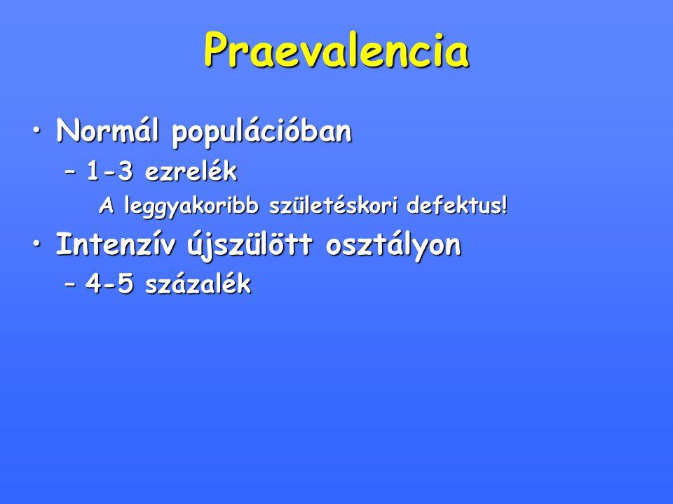 Praevalencia Normál populációbanNormál populációban –1-3 ezrelék A leggyakoribb születéskori defektus! Intenzív újszülött osztályonIntenzív újszülött