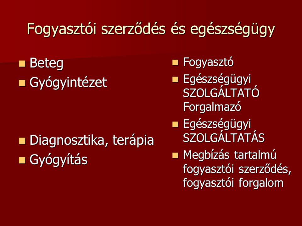 Kifejezett egészségügyi fogyasztói jogok csoportjai Betegjogok Betegjogok –Deklaratív felsorolás:pl.