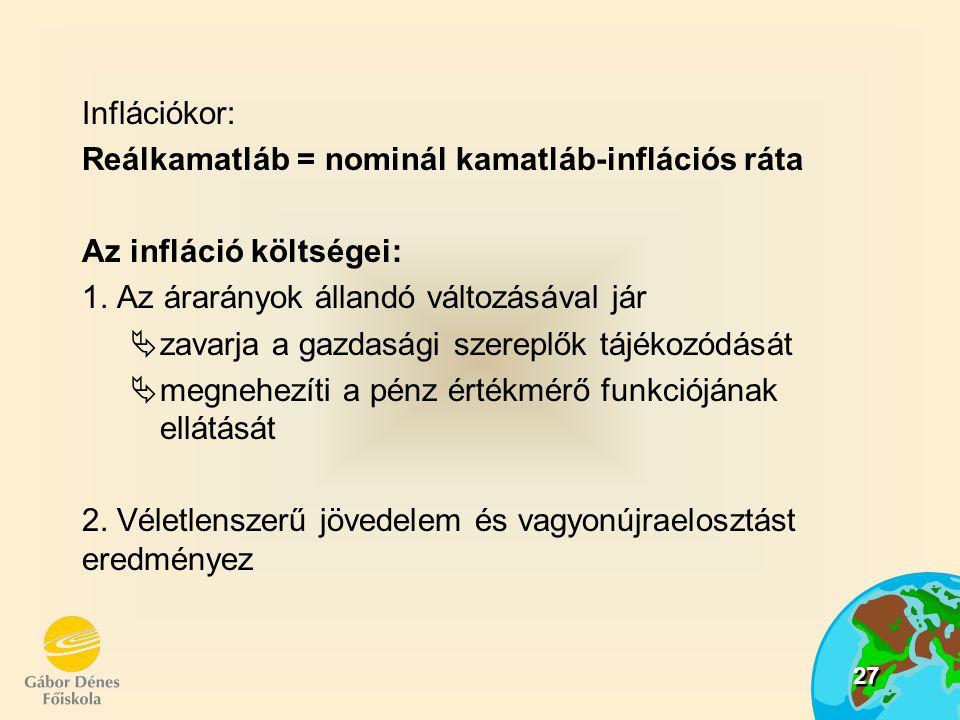 27 Inflációkor: Reálkamatláb = nominál kamatláb-inflációs ráta Az infláció költségei: 1. Az árarányok állandó változásával jár  zavarja a gazdasági s