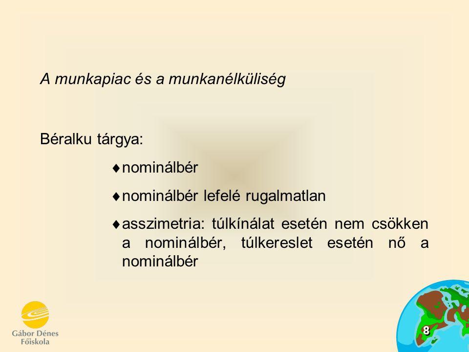 8 A munkapiac és a munkanélküliség Béralku tárgya:  nominálbér  nominálbér lefelé rugalmatlan  asszimetria: túlkínálat esetén nem csökken a nominálbér, túlkereslet esetén nő a nominálbér