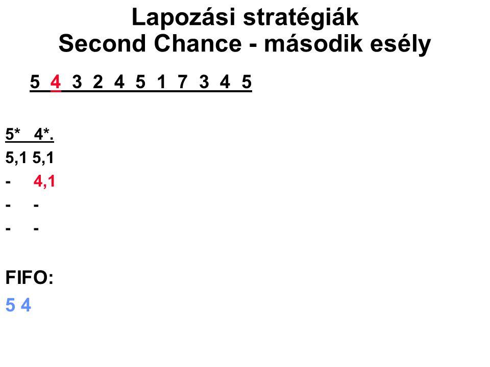 5 4 3 2 4 5 1 7 3 4 5 5* 4*. 5,1 - 4,1 - FIFO: 5 4 Lapozási stratégiák Second Chance - második esély