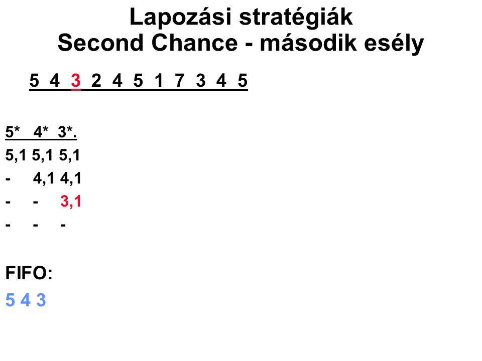 5 4 3 2 4 5 1 7 3 4 5 5* 4* 3*. 5,1 5,1 5,1 - 4,1 4,1 - - 3,1 - - - FIFO: 5 4 3 Lapozási stratégiák Second Chance - második esély