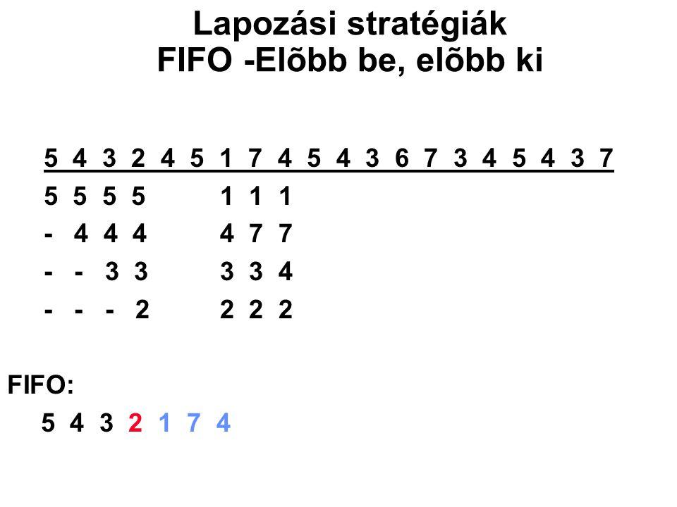 5 4 3 2 4 5 1 7 4 5 4 3 6 7 3 4 5 4 3 7 5 5 5 5 1 1 1 - 4 4 4 4 7 7 - - 3 3 3 3 4 - - - 2 2 2 2 FIFO: 5 4 3 2 1 7 4 Lapozási stratégiák FIFO -Elõbb be