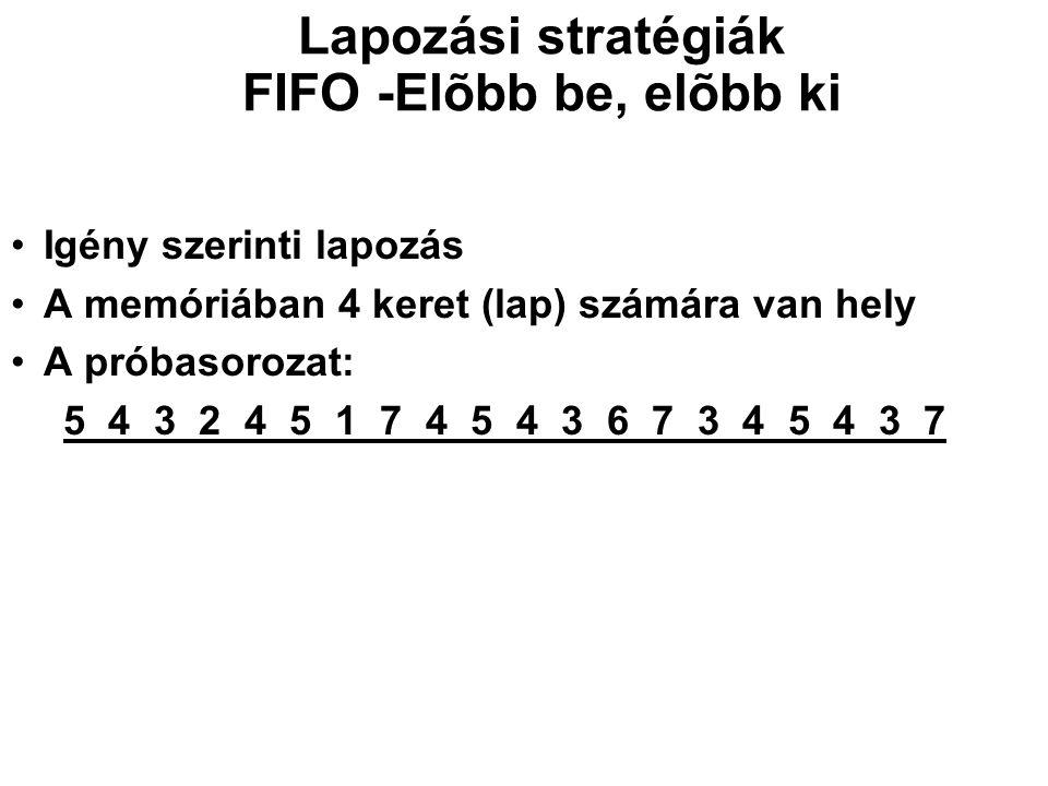 Lapozási stratégiák FIFO -Elõbb be, elõbb ki Igény szerinti lapozás A memóriában 4 keret (lap) számára van hely A próbasorozat: 5 4 3 2 4 5 1 7 4 5 4