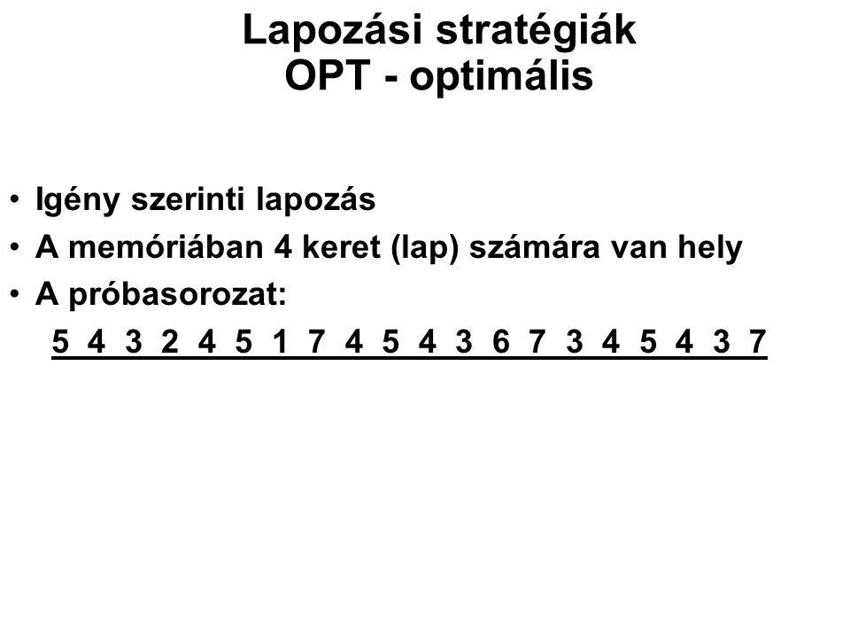 Lapozási stratégiák OPT - optimális Igény szerinti lapozás A memóriában 4 keret (lap) számára van hely A próbasorozat: 5 4 3 2 4 5 1 7 4 5 4 3 6 7 3 4