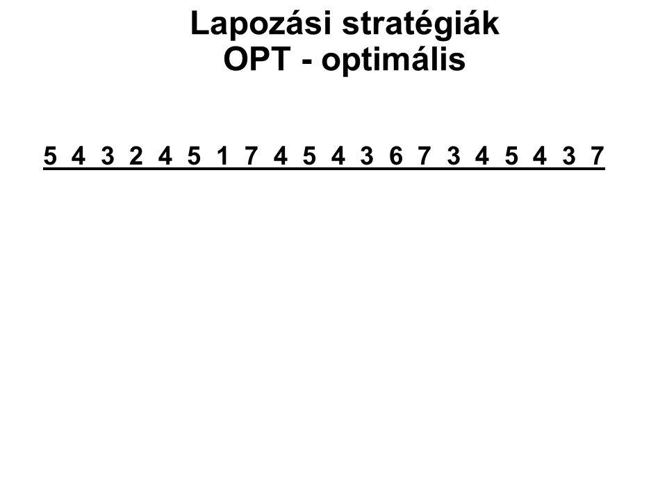 5 4 3 2 4 5 1 7 4 5 4 3 6 7 3 4 5 4 3 7 Lapozási stratégiák OPT - optimális