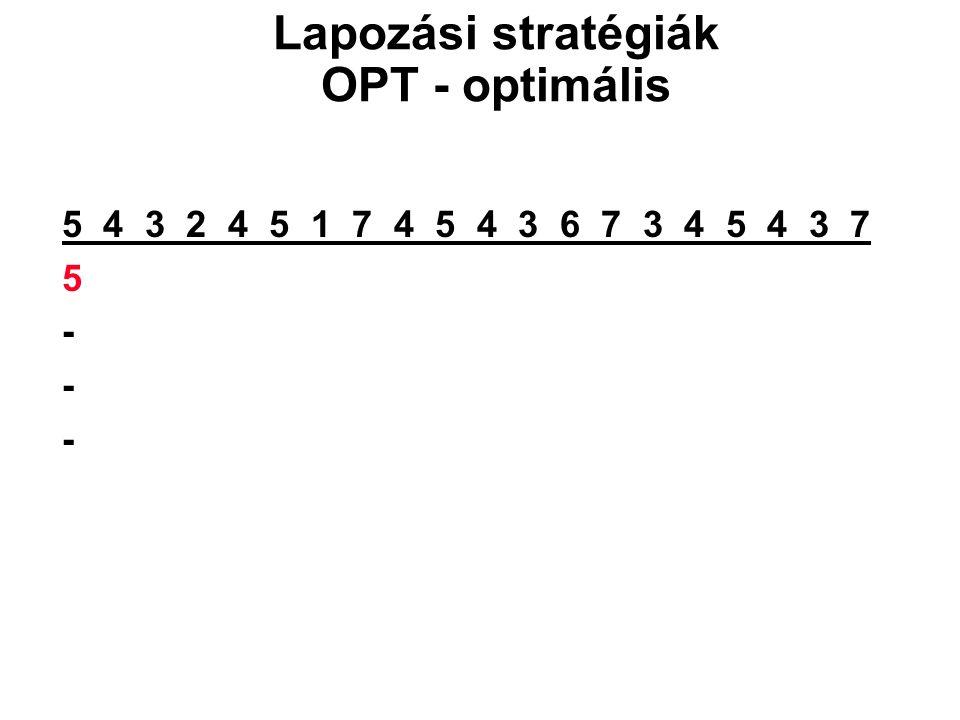 5 4 3 2 4 5 1 7 4 5 4 3 6 7 3 4 5 4 3 7 5 - Lapozási stratégiák OPT - optimális