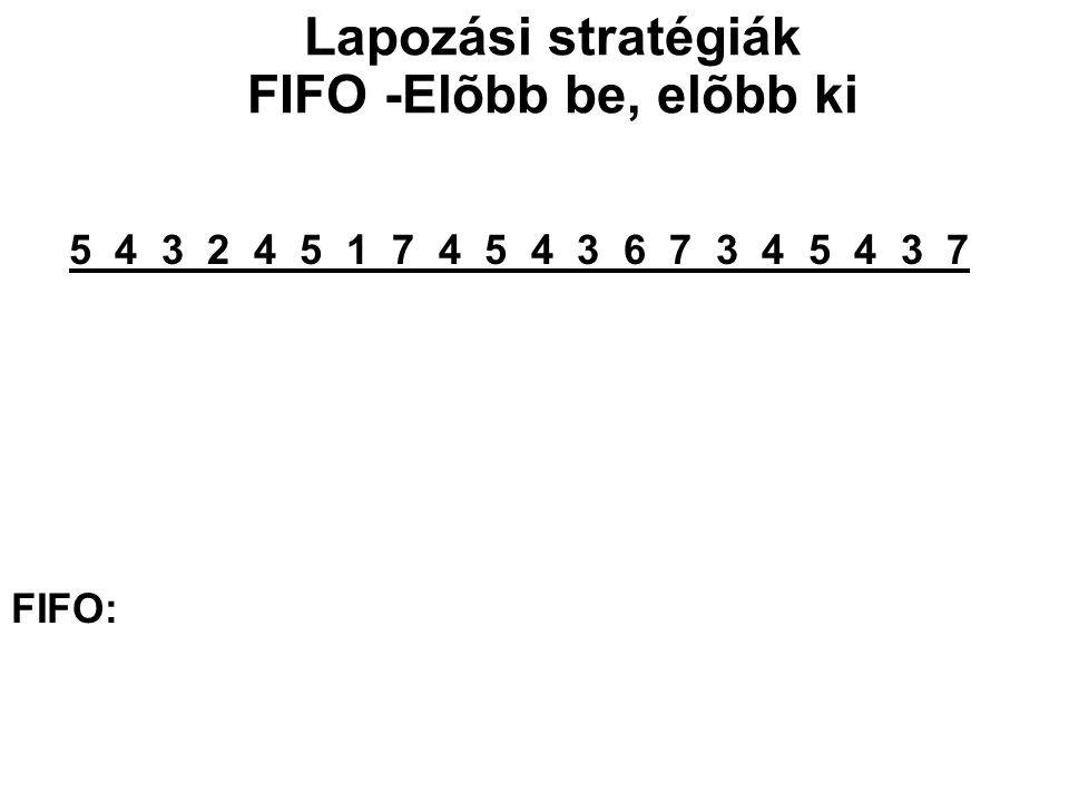 5 4 3 2 4 5 1 7 4 5 4 3 6 7 3 4 5 4 3 7 5 5 5 5 1 1 1 1 3 3 3 3 5 - 4 4 4 4 7 7 7 7 6 6 6 6 - - 3 3 3 3 4 4 4 4 7 7 7 - - - 2 2 2 2 5 5 5 5 4 4 FIFO: 5 4 3 2 1 7 4 5 3 6 7 4 5 Lapozási stratégiák FIFO -Elõbb be, elõbb ki