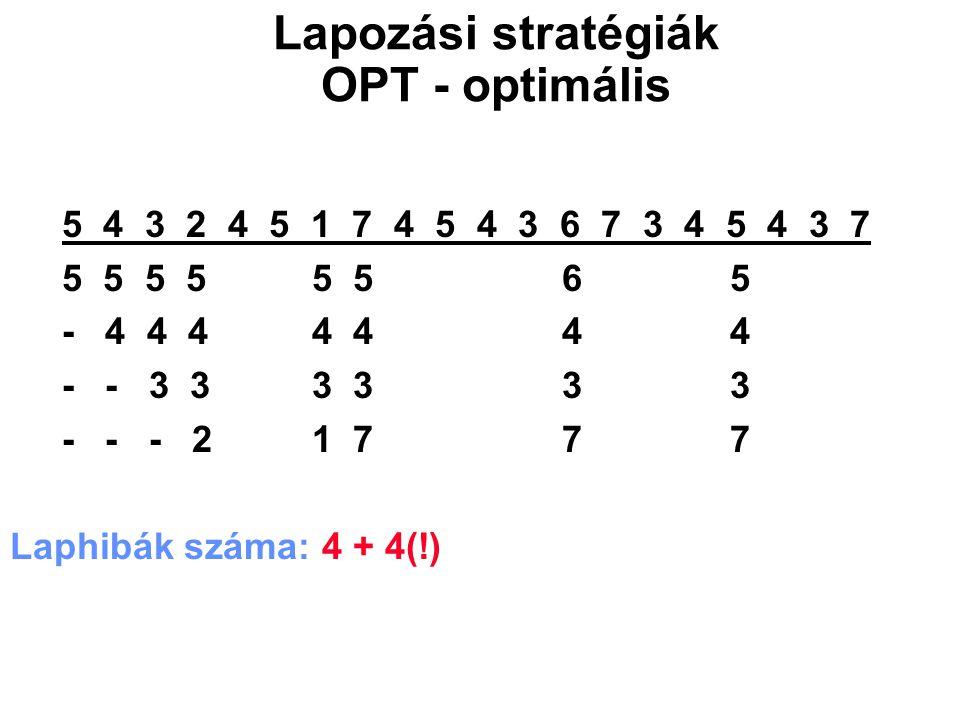 5 4 3 2 4 5 1 7 4 5 4 3 6 7 3 4 5 4 3 7 5 5 5 5 5 5 65 - 4 4 4 4 4 44 - - 3 3 3 3 33 - - - 2 1 7 77 Laphibák száma: 4 + 4(!) Lapozási stratégiák OPT -