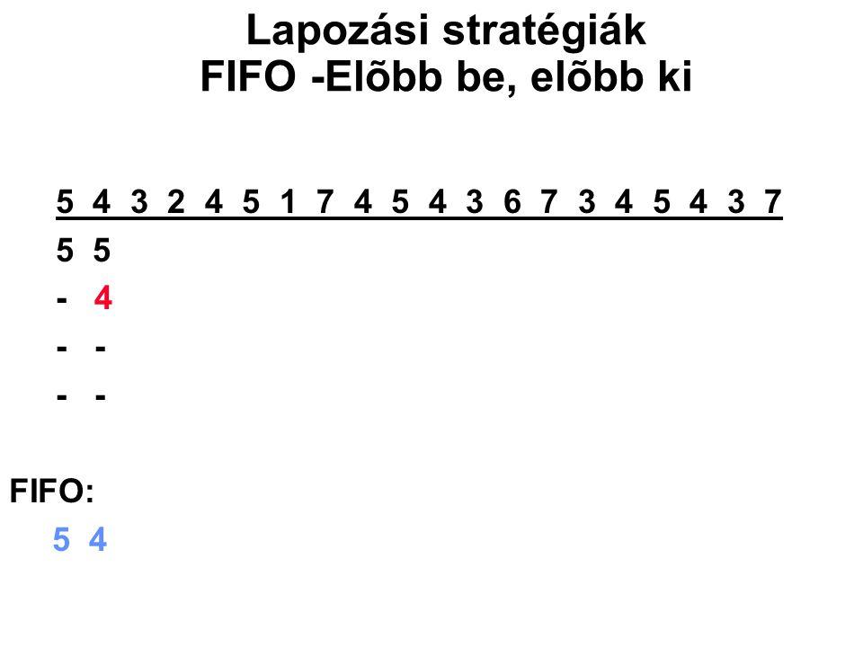 5 4 3 2 4 5 1 7 4 5 4 3 6 7 3 4 5 4 3 7 5 5 5 5 1 1 1 1 3 3 3 3 5 5 - 4 4 4 4 7 7 7 7 6 6 6 6 3 - - 3 3 3 3 4 4 4 4 7 7 7 7 - - - 2 2 2 2 5 5 5 5 4 4 4 FIFO: 5 4 3 2 1 7 4 5 3 6 7 4 5 Lapozási stratégiák FIFO -Elõbb be, elõbb ki