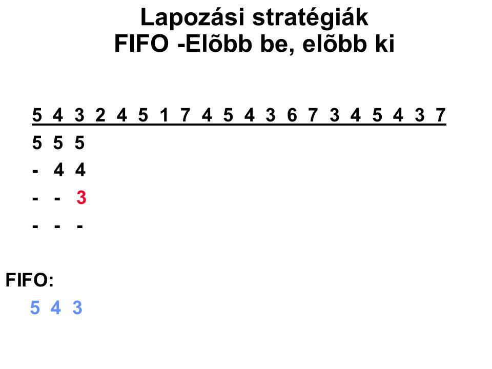 5 4 3 2 4 5 1 7 4 5 4 3 6 7 3 4 5 4 3 7 5 5 5 5 1 1 1 1 3 3 3 - 4 4 4 4 7 7 7 7 6 6 - - 3 3 3 3 4 4 4 4 7 - - - 2 2 2 2 5 5 5 5 FIFO: 5 4 3 2 1 7 4 5 3 6 Lapozási stratégiák FIFO -Elõbb be, elõbb ki