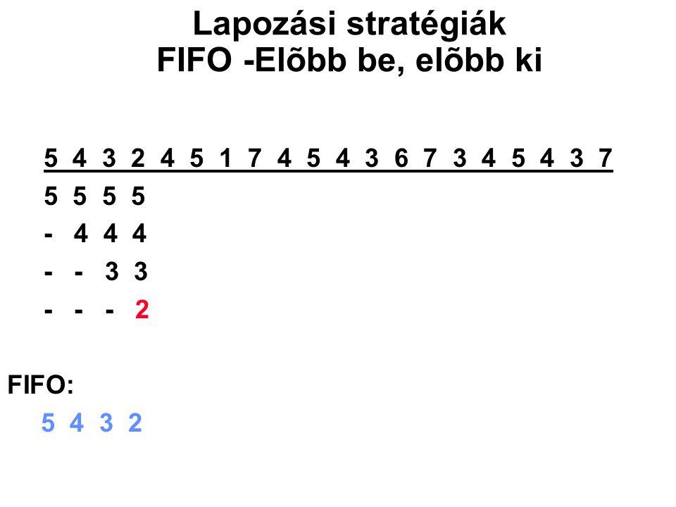 5 4 3 2 4 5 1 7 4 5 4 3 6 7 3 4 5 4 3 7 5 5 5 5 1 1 1 1 3 3 3 - 4 4 4 4 7 7 7 7 6 6 - - 3 3 3 3 4 4 4 4 7 - - - 2 2 2 2 5 5 5 5 FIFO: 5 4 3 2 1 7 4 5 3 6 7 Lapozási stratégiák FIFO -Elõbb be, elõbb ki