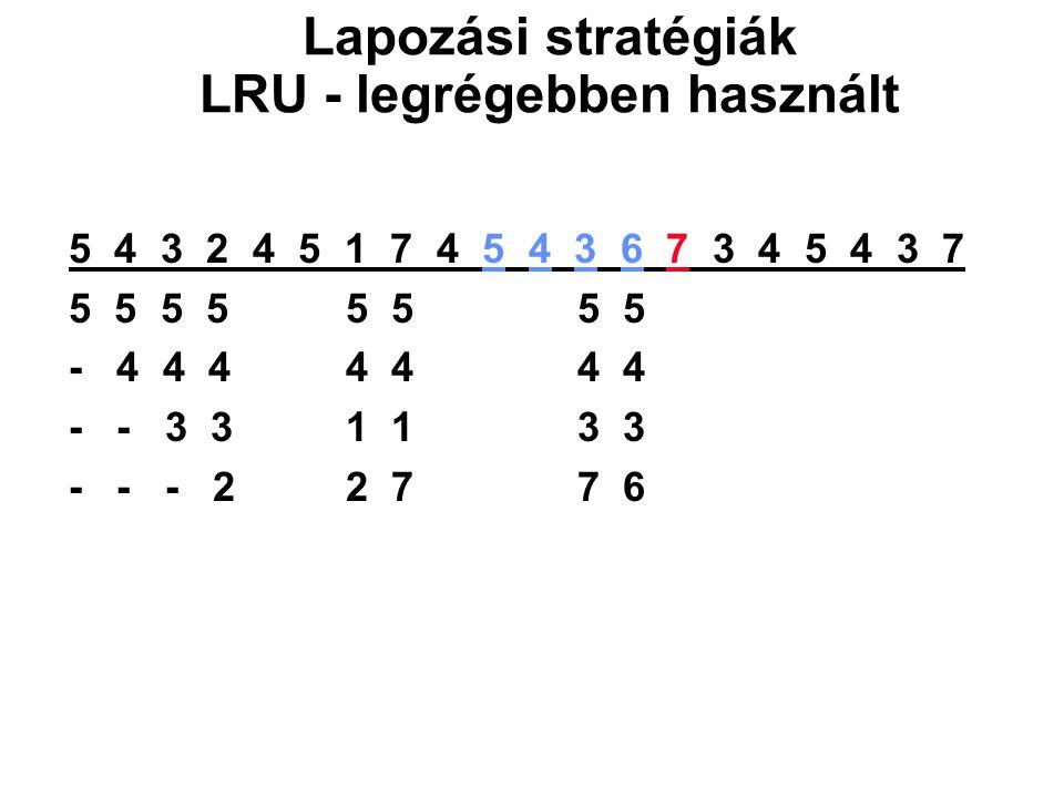 5 4 3 2 4 5 1 7 4 5 4 3 6 7 3 4 5 4 3 7 5 5 5 5 5 5 5 5 - 4 4 4 4 4 4 4 - - 3 3 1 1 3 3 - - - 2 2 7 7 6 Lapozási stratégiák LRU - legrégebben használt