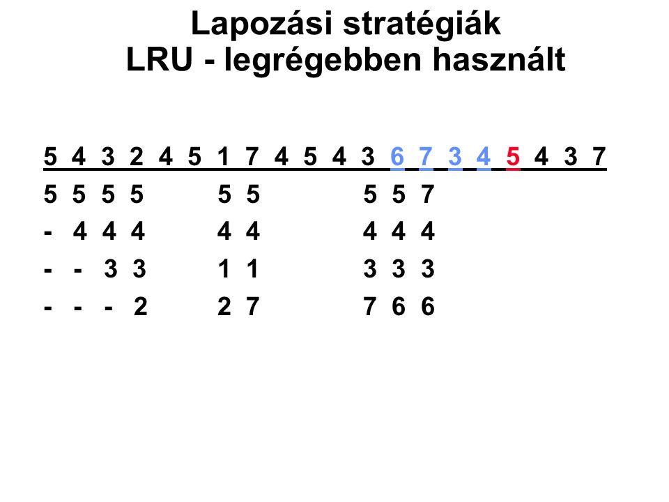 5 4 3 2 4 5 1 7 4 5 4 3 6 7 3 4 5 4 3 7 5 5 5 5 5 5 5 5 7 - 4 4 4 4 4 4 4 4 - - 3 3 1 1 3 3 3 - - - 2 2 7 7 6 6 Lapozási stratégiák LRU - legrégebben