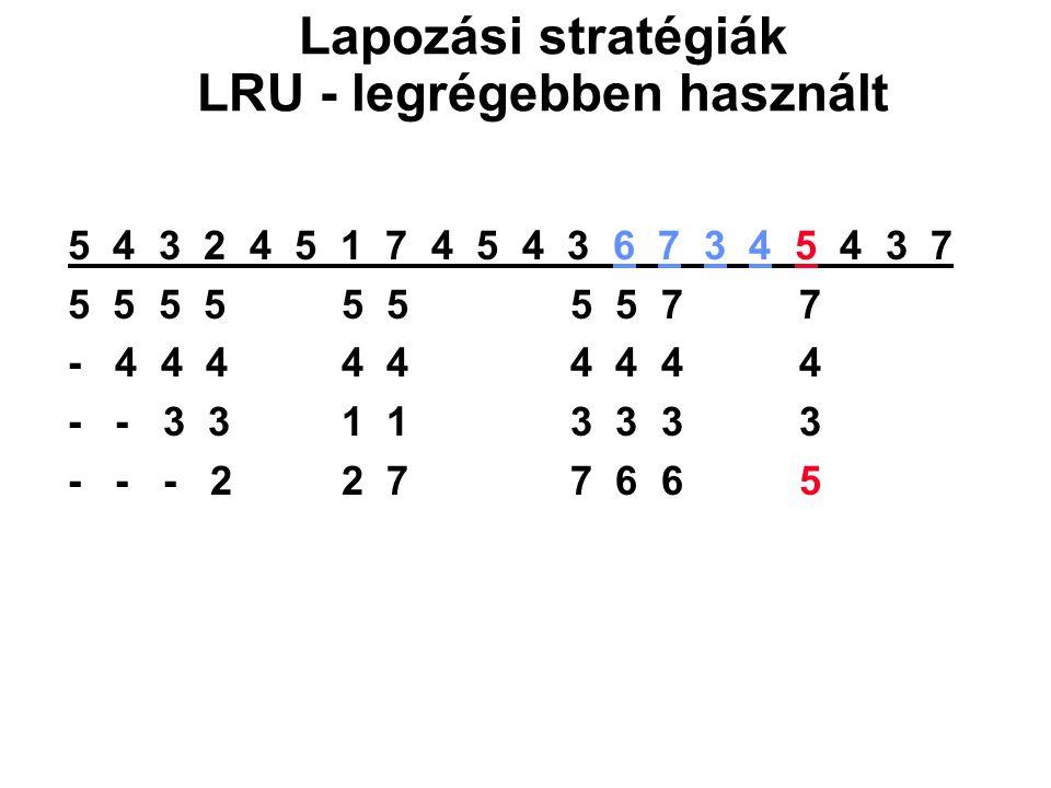 5 4 3 2 4 5 1 7 4 5 4 3 6 7 3 4 5 4 3 7 5 5 5 5 5 5 5 5 77 - 4 4 4 4 4 4 4 44 - - 3 3 1 1 3 3 33 - - - 2 2 7 7 6 65 Lapozási stratégiák LRU - legrégeb