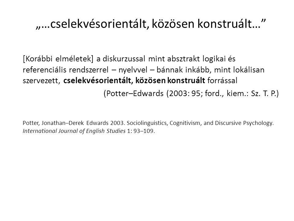 """""""…cselekvésorientált, közösen konstruált…"""" [Korábbi elméletek] a diskurzussal mint absztrakt logikai és referenciális rendszerrel – nyelvvel – bánnak"""
