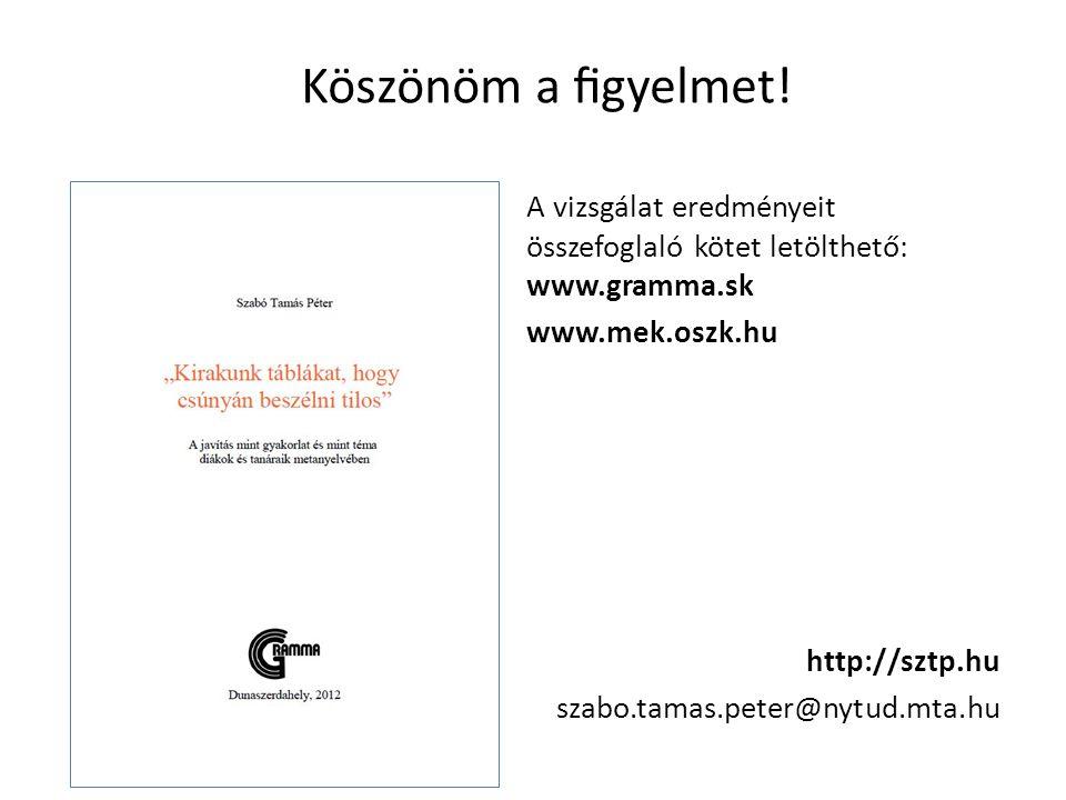 Köszönöm a figyelmet! A vizsgálat eredményeit összefoglaló kötet letölthető: www.gramma.sk www.mek.oszk.hu http://sztp.hu szabo.tamas.peter@nytud.mta.h