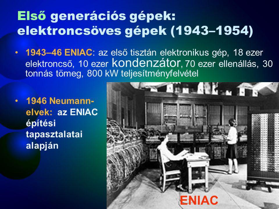 1943–46 ENIAC: az első tisztán elektronikus gép, 18 ezer elektroncső, 10 ezer kondenzátor, 70 ezer ellenállás, 30 tonnás tömeg, 800 kW teljesítményfel
