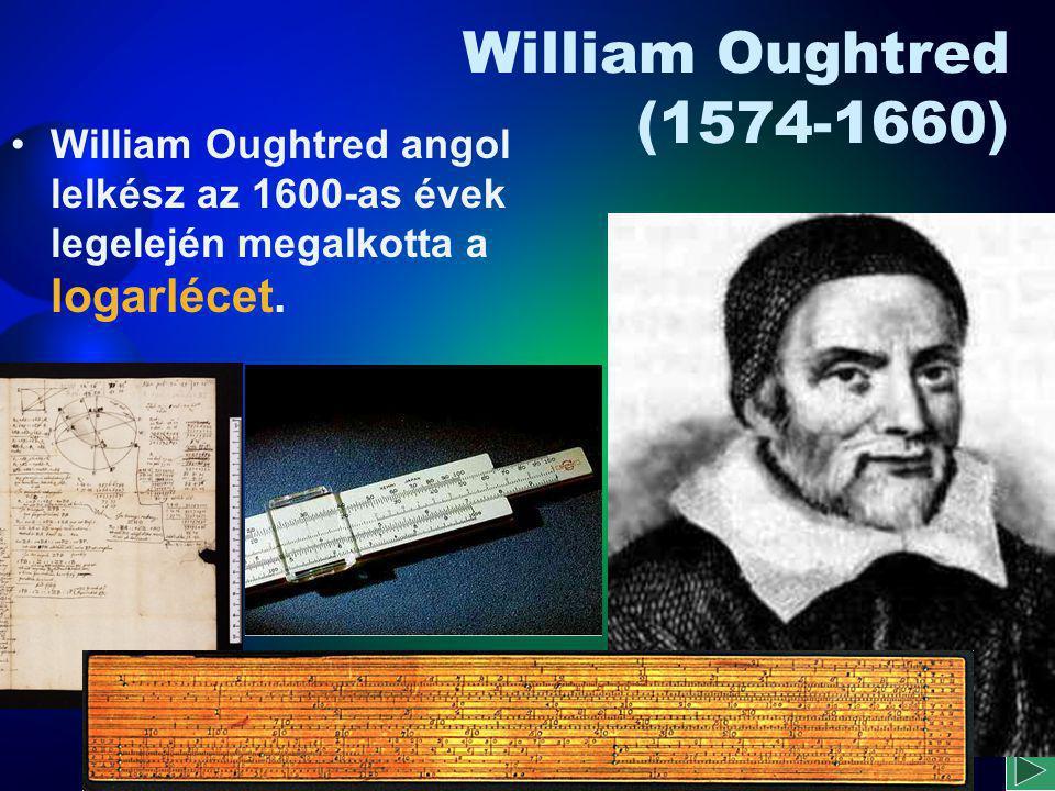 Wilhelm Schickard (1592 - 1635) Wilhelm Schickard német csillagász professzor 1623-ban egy olyan számológépet tervezett, amelyben egymáshoz illeszkedő tíz- és egyfogú fogaskerekek vannak.