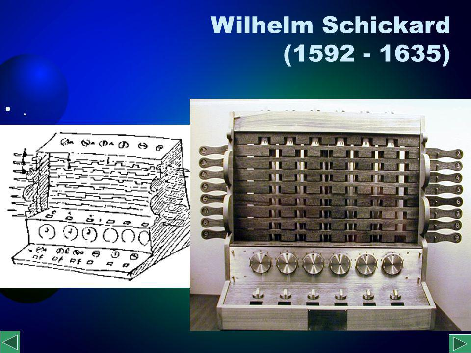 Blaise Pascal (1623-1662) fizikus és filozófus 1642-44 Öszegzõgép A gép csak az összeadást és a kivonást ismerte, a szorzást és az osztást nem.