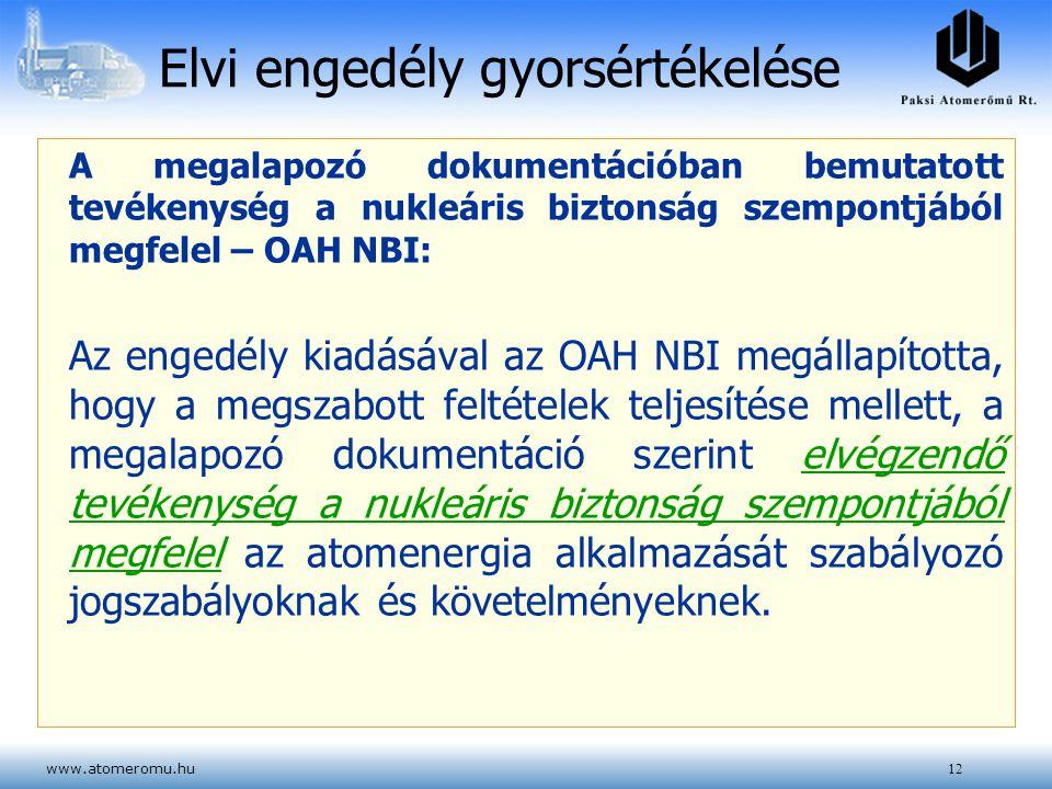 www.atomeromu.hu12 Elvi engedély gyorsértékelése A megalapozó dokumentációban bemutatott tevékenység a nukleáris biztonság szempontjából megfelel – OA
