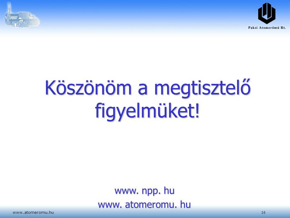 www.atomeromu.hu16 Köszönöm a megtisztelő figyelmüket! www. npp. hu www. atomeromu. hu