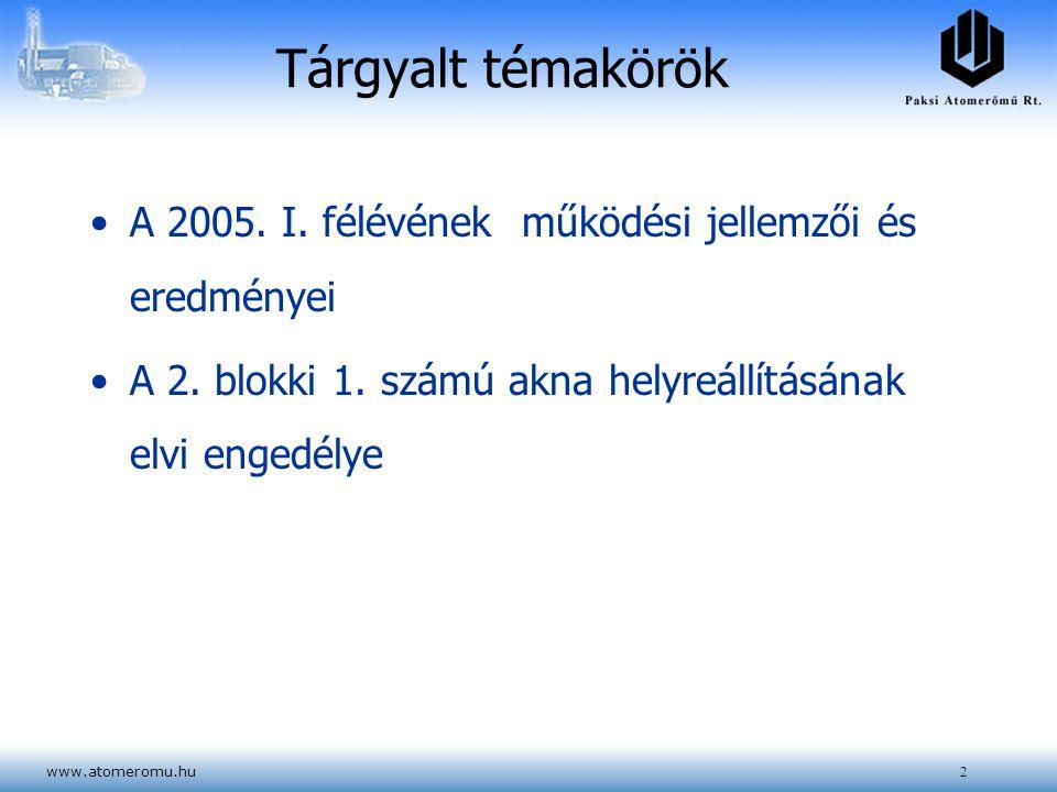 www.atomeromu.hu2 Tárgyalt témakörök A 2005. I. félévének működési jellemzői és eredményei A 2. blokki 1. számú akna helyreállításának elvi engedélye