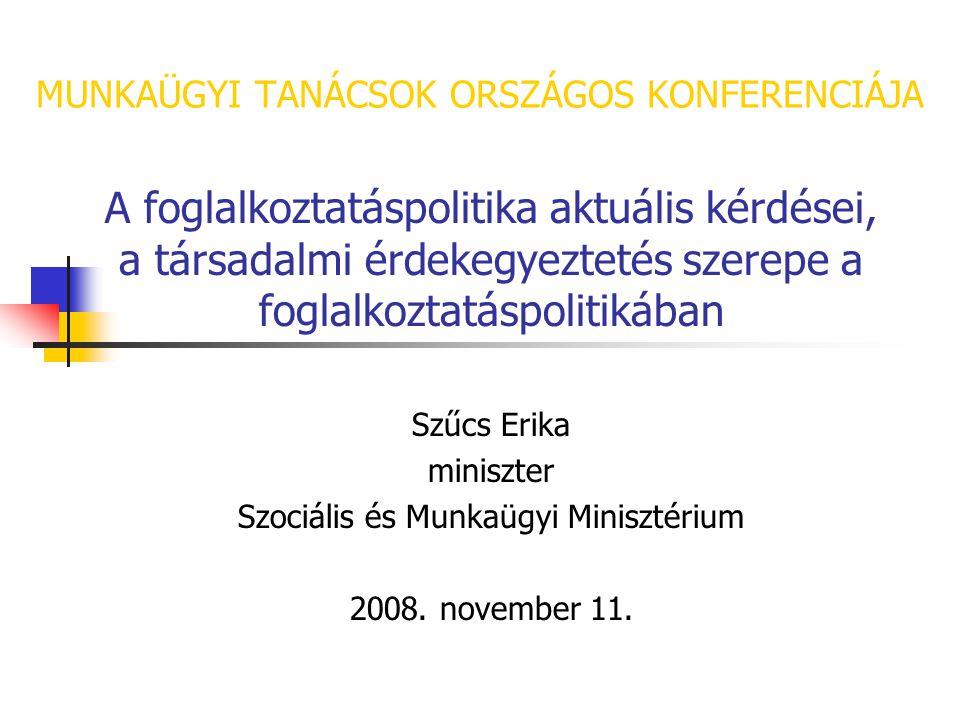 MUNKAÜGYI TANÁCSOK ORSZÁGOS KONFERENCIÁJA A foglalkoztatáspolitika aktuális kérdései, a társadalmi érdekegyeztetés szerepe a foglalkoztatáspolitikában Szűcs Erika miniszter Szociális és Munkaügyi Minisztérium 2008.