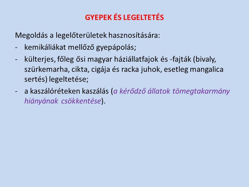 GYEPEK ÉS LEGELTETÉS Megoldás a legelőterületek hasznosítására: -kemikáliákat mellőző gyepápolás; -külterjes, főleg ősi magyar háziállatfajok és -fajták (bivaly, szürkemarha, cikta, cigája és racka juhok, esetleg mangalica sertés) legeltetése; -a kaszálóréteken kaszálás (a kérődző állatok tömegtakarmány hiányának csökkentése).