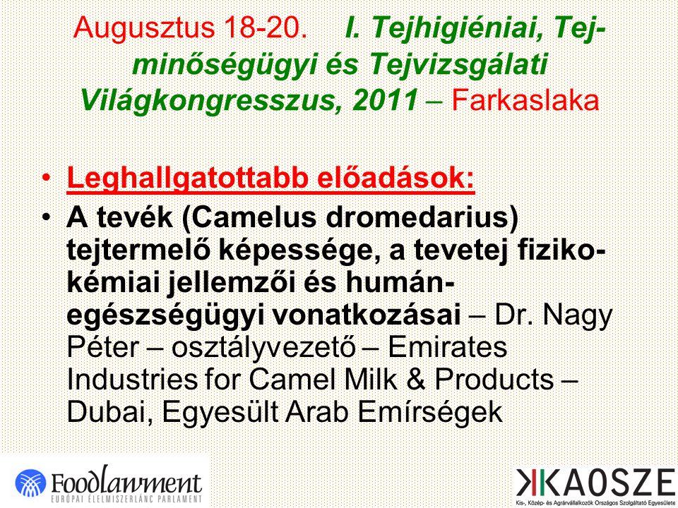 Augusztus 18-20. I. Tejhigiéniai, Tej- minőségügyi és Tejvizsgálati Világkongresszus, 2011 – Farkaslaka Leghallgatottabb előadások: A tevék (Camelus d