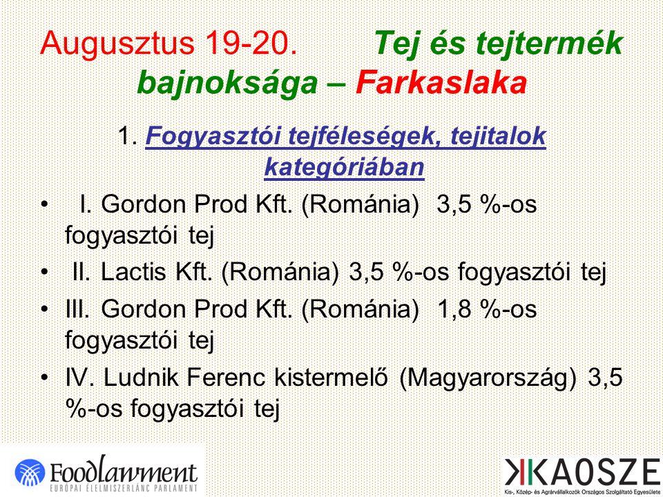 Augusztus 19-20. Tej és tejtermék bajnoksága – Farkaslaka 1. Fogyasztói tejféleségek, tejitalok kategóriában I. Gordon Prod Kft. (Románia) 3,5 %-os fo
