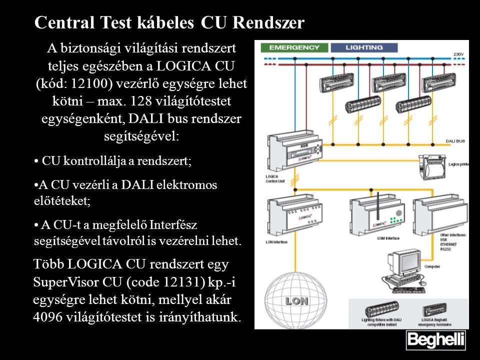 Central Test kábeles CU Rendszer A biztonsági világítási rendszert teljes egészében a LOGICA CU (kód: 12100) vezérlő egységre lehet kötni – max. 128 v
