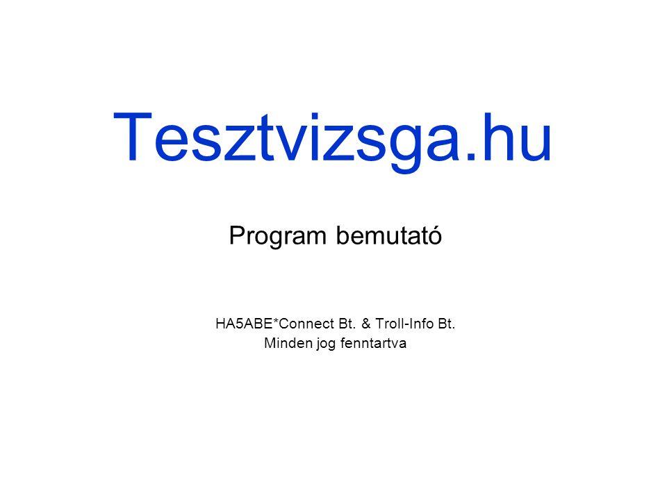 Tesztvizsga.hu HA5ABE*Connect Bt. & Troll-Info Bt. Minden jog fenntartva Program bemutató
