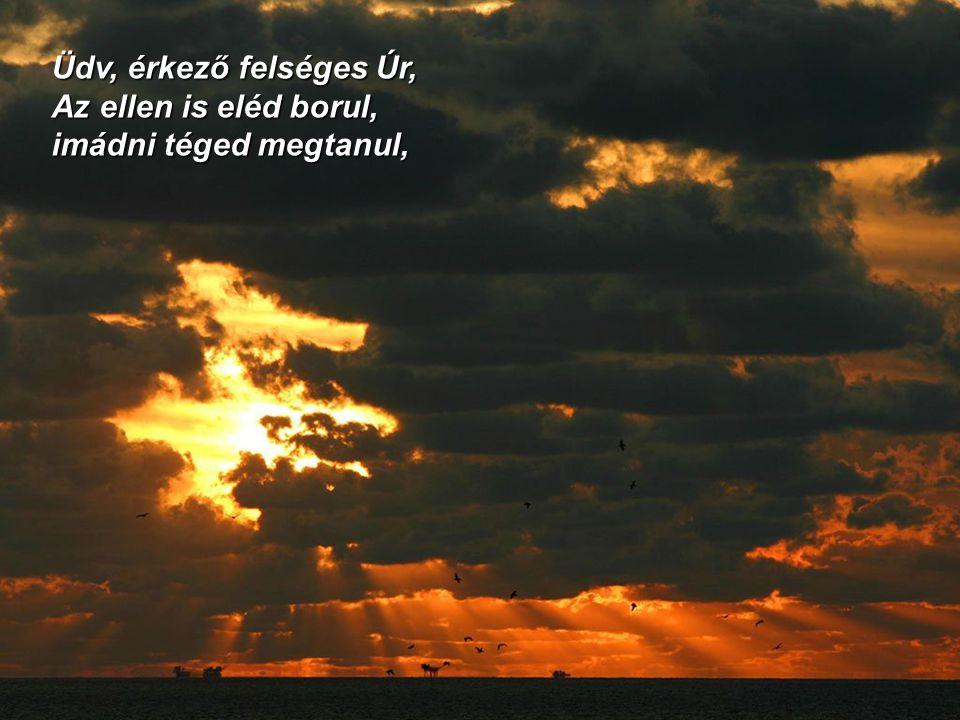 Üdv, érkező felséges Úr, Az ellen is eléd borul, imádni téged megtanul,