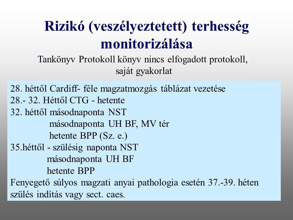Rizikó (veszélyeztetett) terhesség monitorizálása Tankönyv Protokoll könyv nincs elfogadott protokoll, saját gyakorlat 28. héttől Cardiff- féle magzat