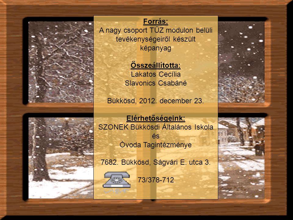 Forrás: A nagy csoport TŰZ modulon belüli tevékenységeiről készült képanyag Összeállította: Lakatos Cecília Slavonics Csabáné Bükkösd, 2012. december