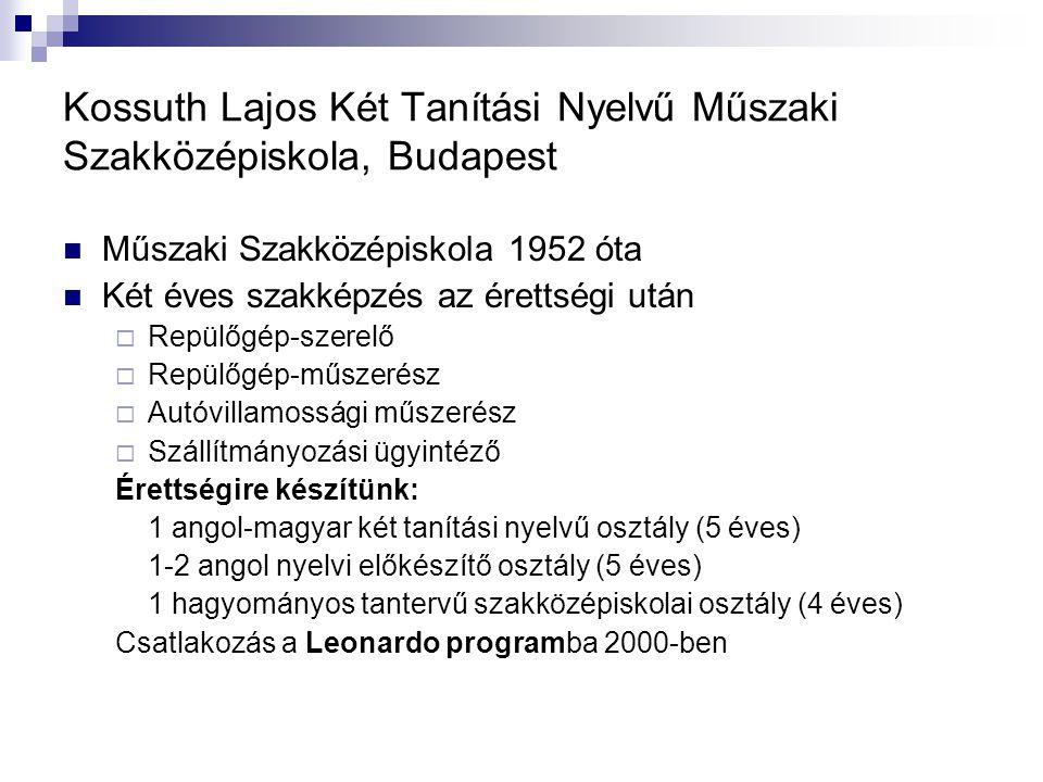 Kossuth Lajos Két Tanítási Nyelvű Műszaki Szakközépiskola, Budapest Műszaki Szakközépiskola 1952 óta Két éves szakképzés az érettségi után  Repülőgép