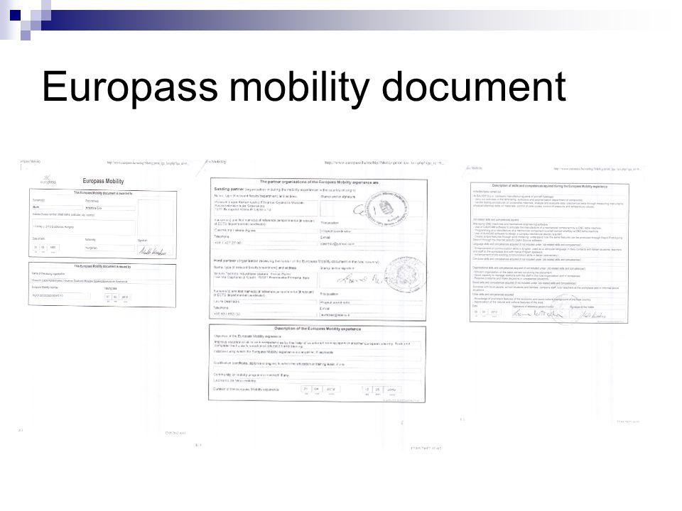 Europass mobility document