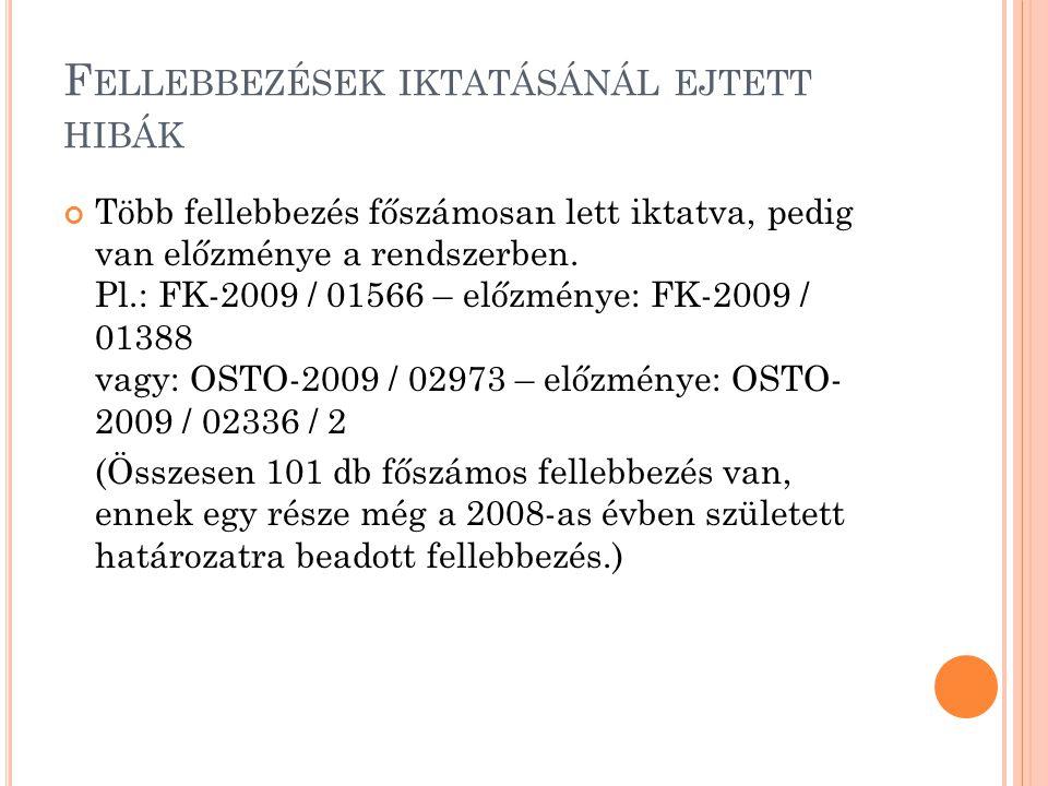 F ELLEBBEZÉSEK IKTATÁSÁNÁL EJTETT HIBÁK Több fellebbezés főszámosan lett iktatva, pedig van előzménye a rendszerben. Pl.: FK-2009 / 01566 – előzménye: