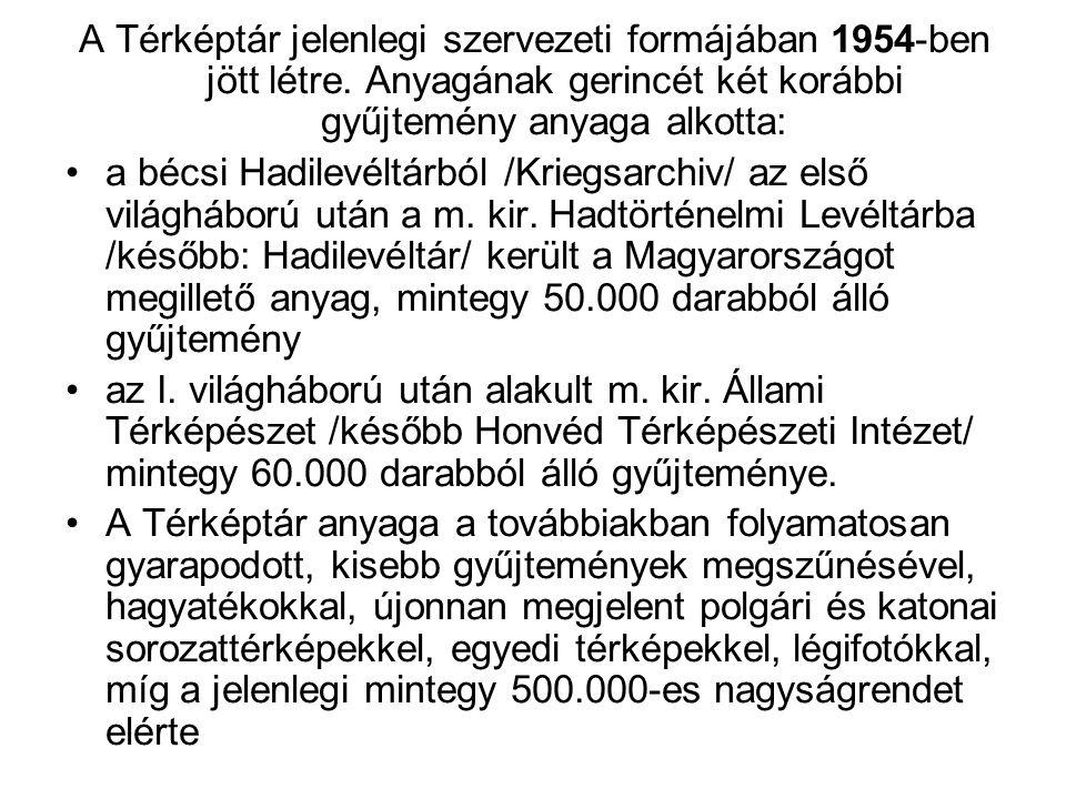 A Térképtár jelenlegi szervezeti formájában 1954-ben jött létre.