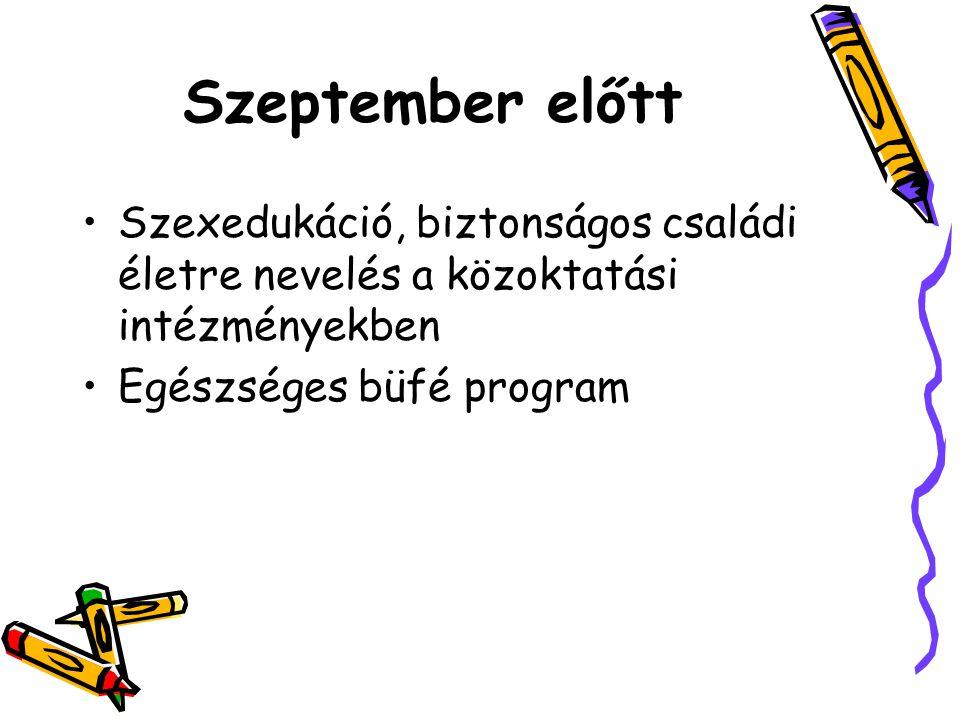 Szeptember előtt Szexedukáció, biztonságos családi életre nevelés a közoktatási intézményekben Egészséges büfé program