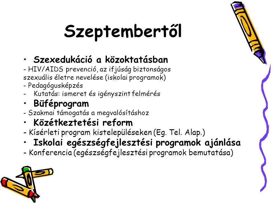 Szeptembertől Szexedukáció a közoktatásban - HIV/AIDS prevenció, az ifjúság biztonságos szexuális életre nevelése (iskolai programok) - Pedagógusképzés -Kutatás: ismeret és igényszint felmérés Büféprogram - Szakmai támogatás a megvalósításhoz Közétkeztetési reform - Kísérleti program kistelepüléseken (Eg.