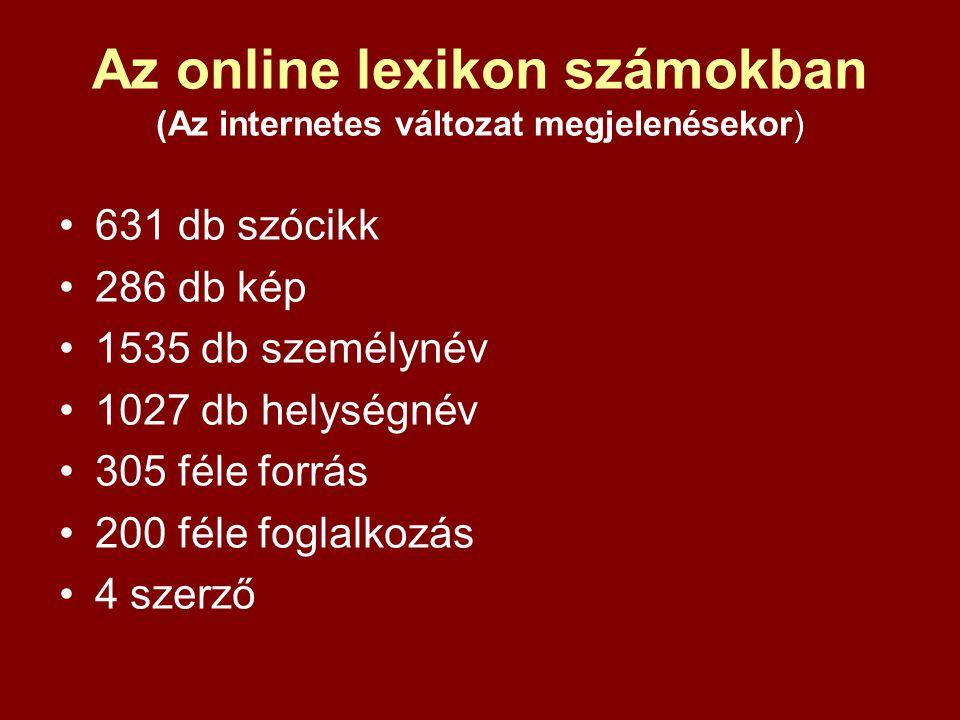 Az online lexikon számokban (Az internetes változat megjelenésekor) 631 db szócikk 286 db kép 1535 db személynév 1027 db helységnév 305 féle forrás 20