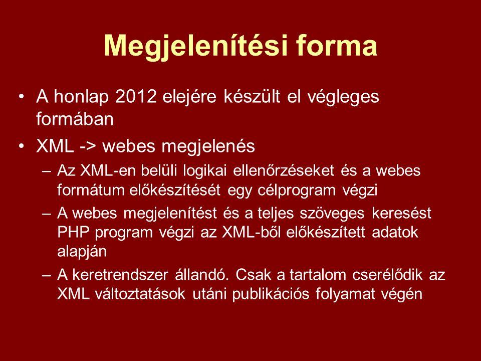Megjelenítési forma A honlap 2012 elejére készült el végleges formában XML -> webes megjelenés –Az XML-en belüli logikai ellenőrzéseket és a webes for
