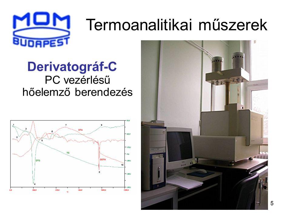 5 Derivatográf-C PC vezérlésű hőelemző berendezés Termoanalitikai műszerek
