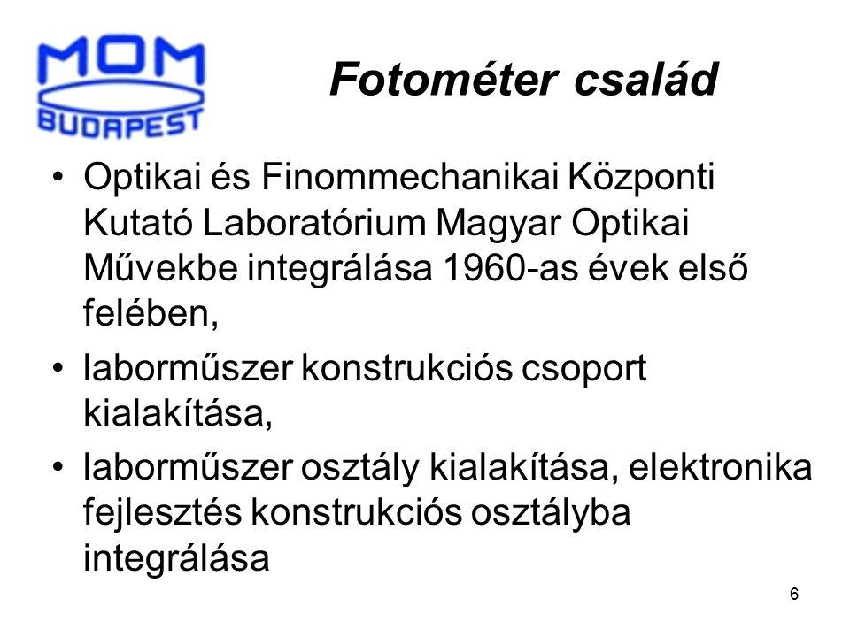 6 Fotométer család Optikai és Finommechanikai Központi Kutató Laboratórium Magyar Optikai Művekbe integrálása 1960-as évek első felében, laborműszer konstrukciós csoport kialakítása, laborműszer osztály kialakítása, elektronika fejlesztés konstrukciós osztályba integrálása