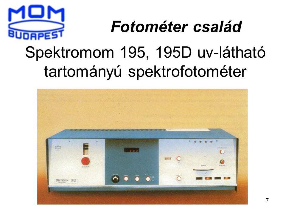 7 Spektromom 195, 195D uv-látható tartományú spektrofotométer Fotométer család